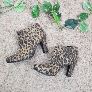 Leopard Print Heeled Booties